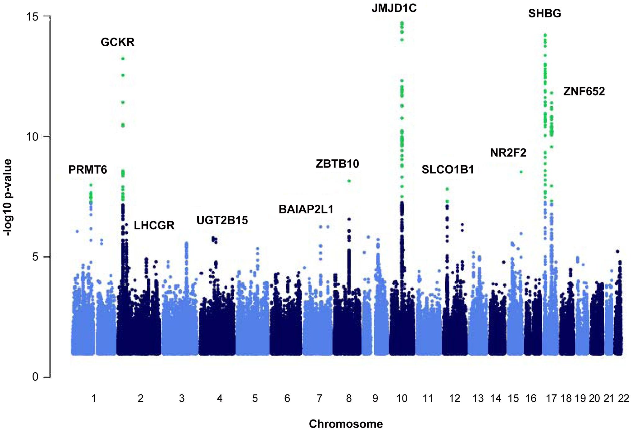Manhattan plot of the autosomal SNPs identified in the GWA meta-analysis.