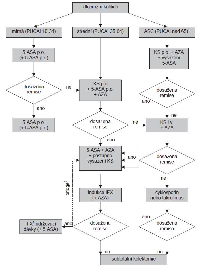 Schéma 2. Algoritmus pro terapii ulcerózní kolitidy u dětí.