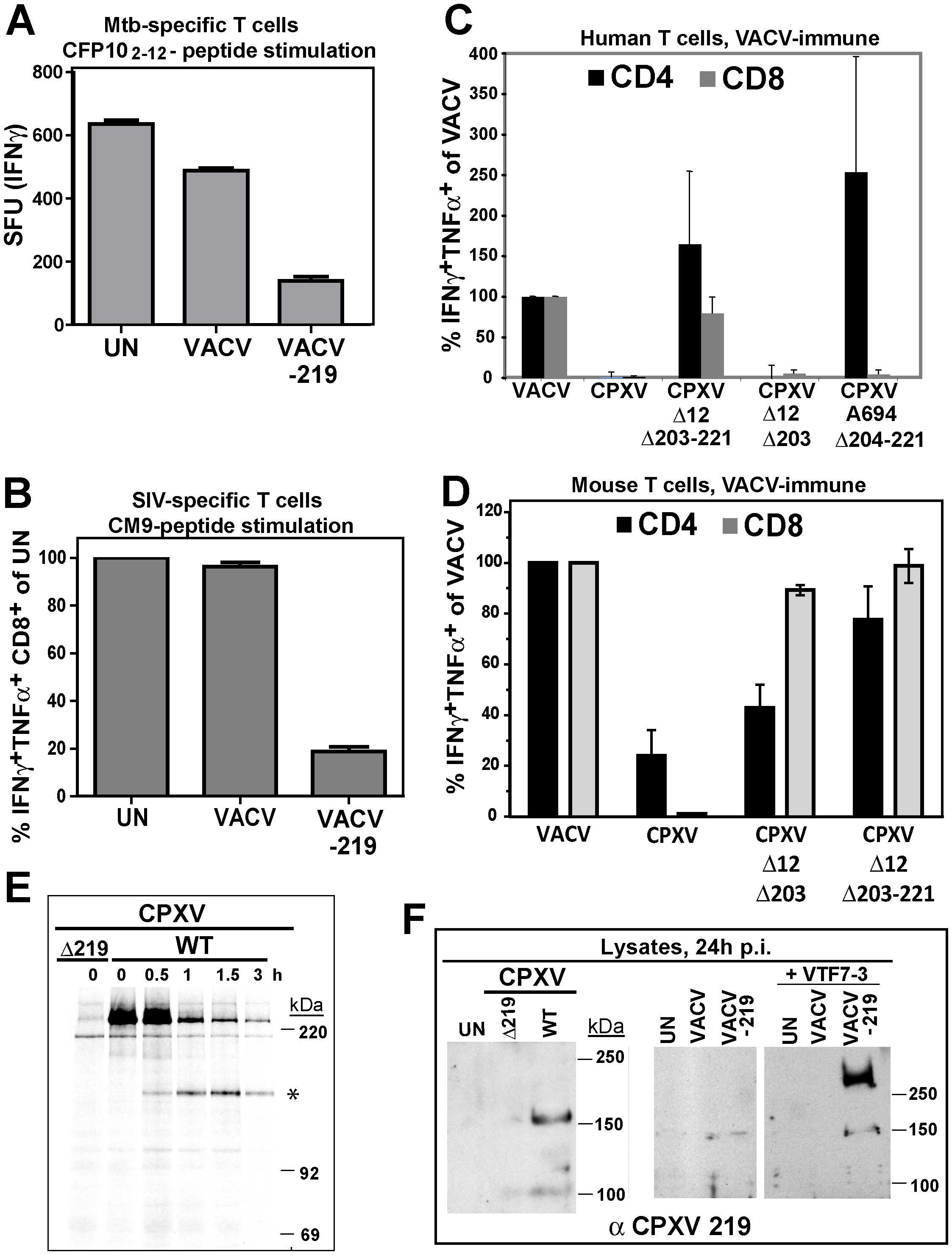 Inhibition of T cell activation by CPXV 219 is species-specific.