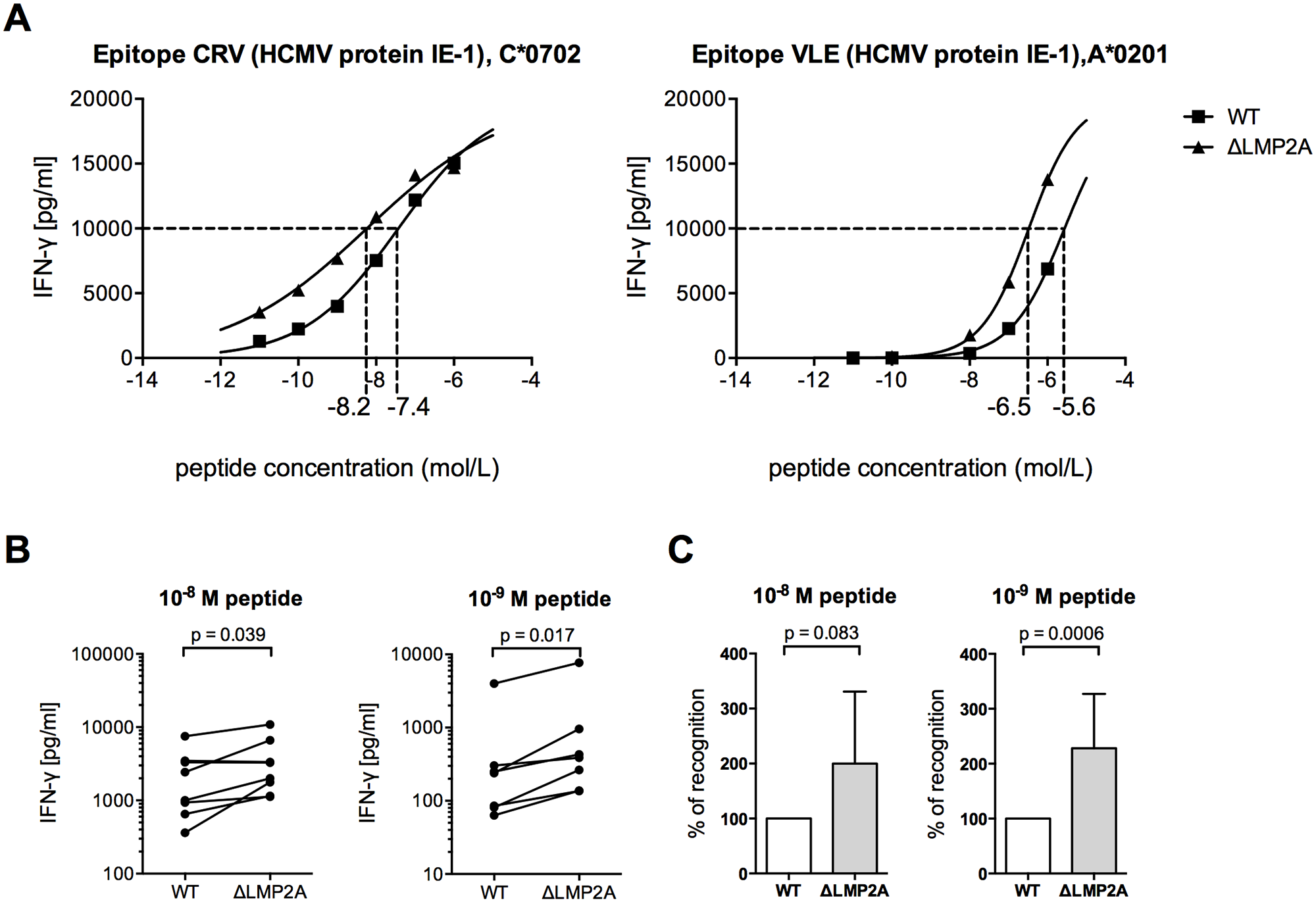 CD8+ T cell recognition of heterologous peptides on LCLs with or without LMP2A.