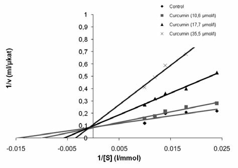 Graph 3. Kinetic types of LOX inhibition by curcumin