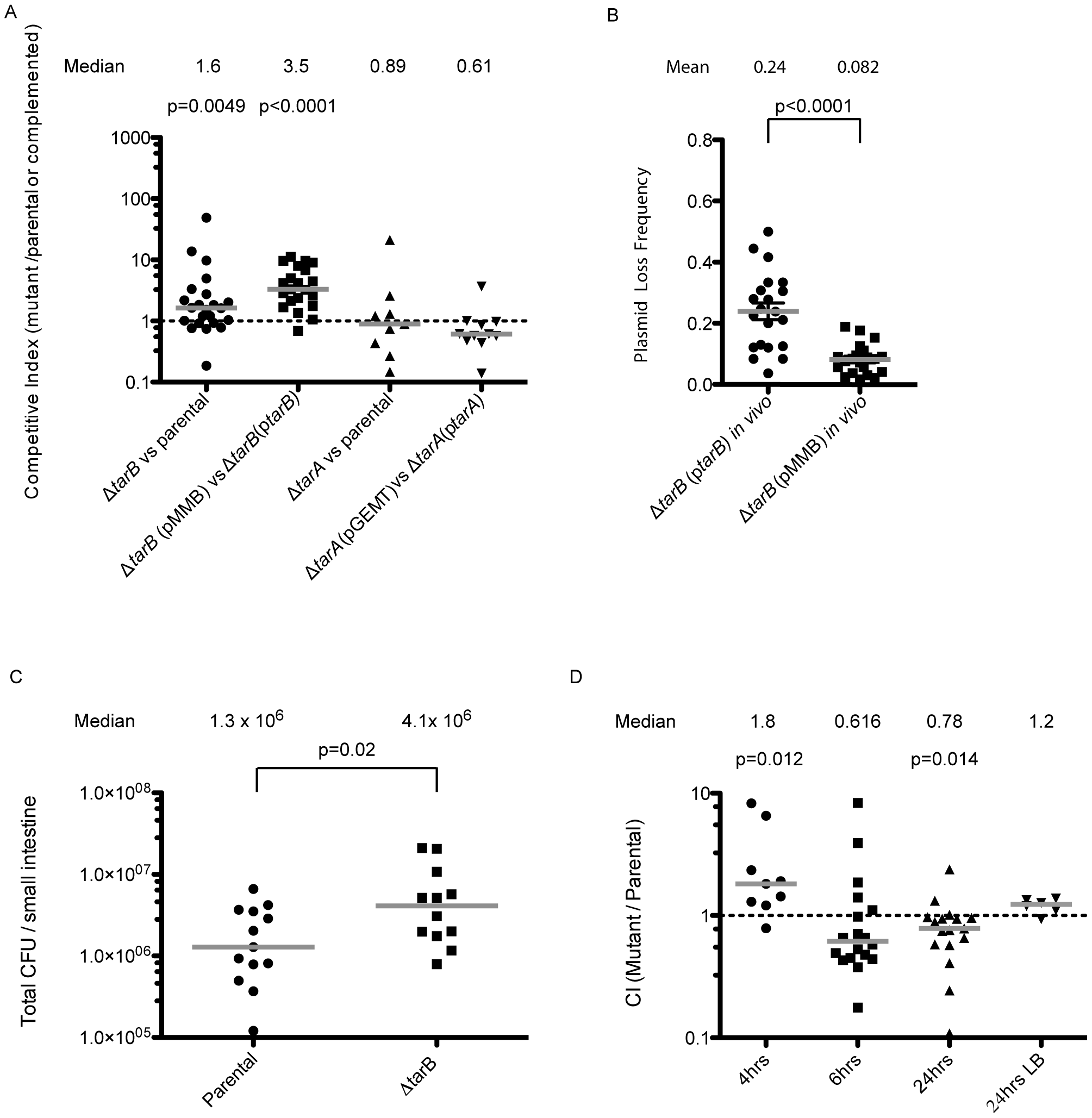 Mouse infections performed with ΔsRNA and complemented strains.