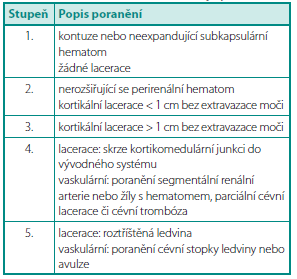 Klasifikace poranění ledvin dle AAST (American Asociation for the Surgery of Trauma (1))