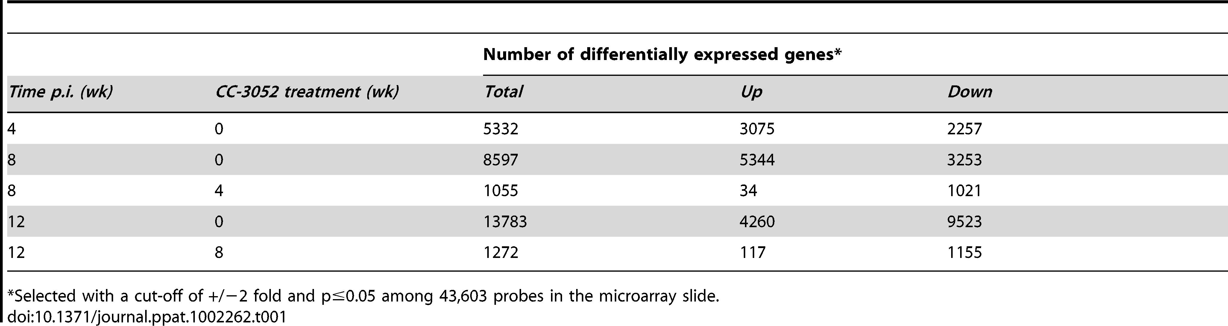 Number of differentially expressed host genes in <i>Mtb</i> infected rabbit lungs with or without CC-3052 treatment.