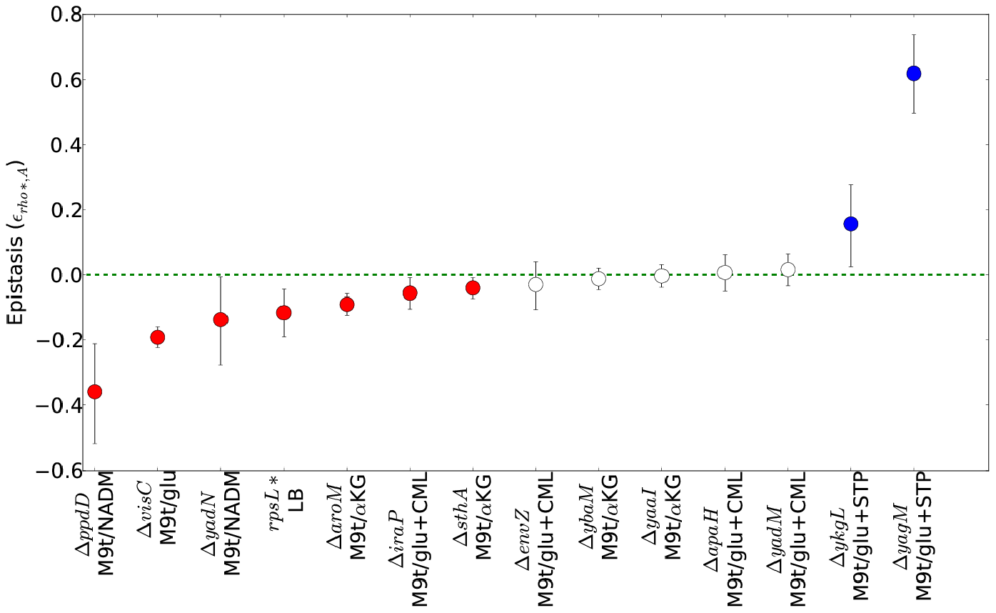 Epistatic interactions between <i>rho</i>* and secondary mutations.