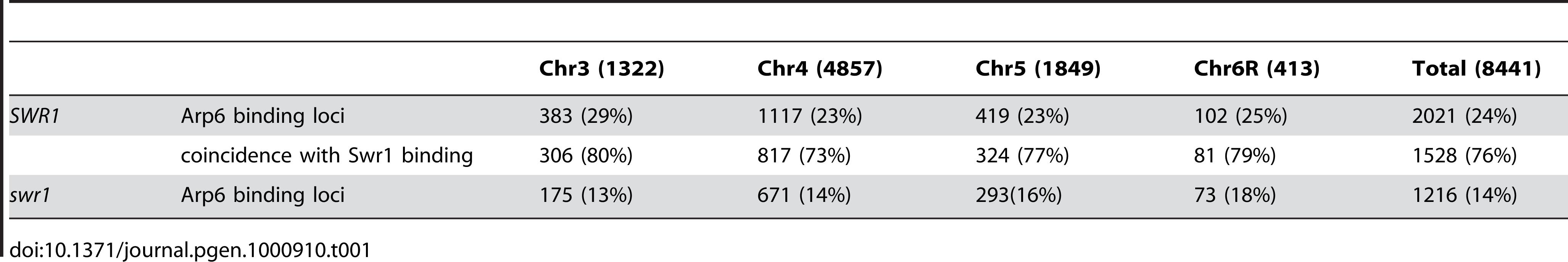 Correlation of localization of Arp6 and Swr1 on budding yeast chromosomes.