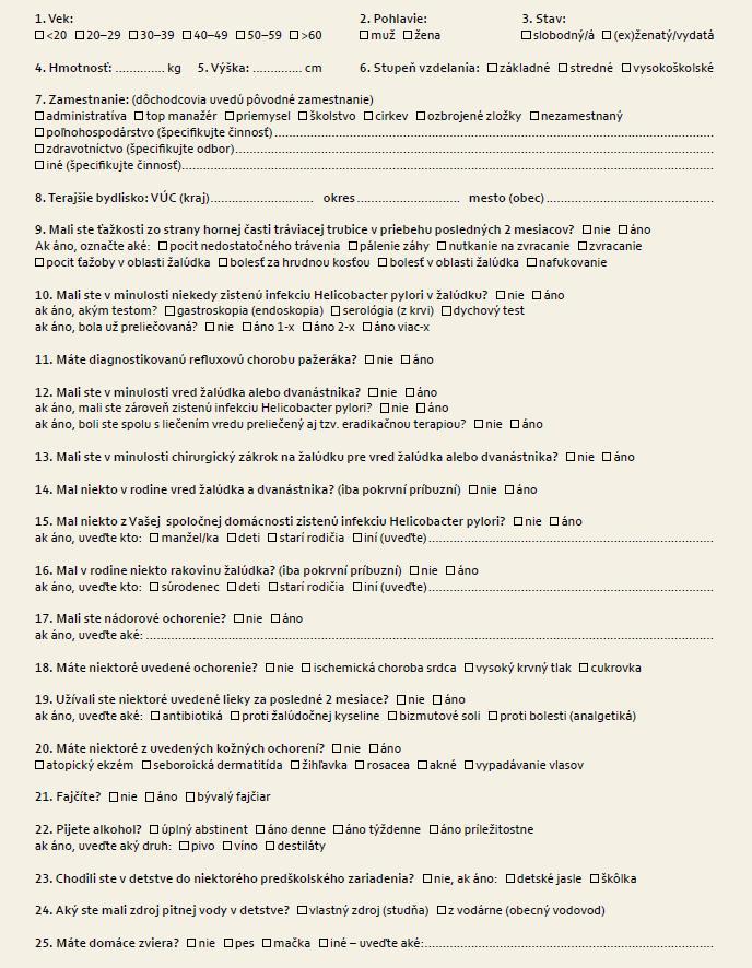 Dotazník epidemiologického prieskumu. Fig. 1. Questionaire of epidemiological study.