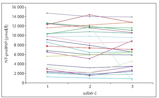 NT-proBNP se u všech nemocných neměnil, v průměru byly všechny hodnoty stabilní.