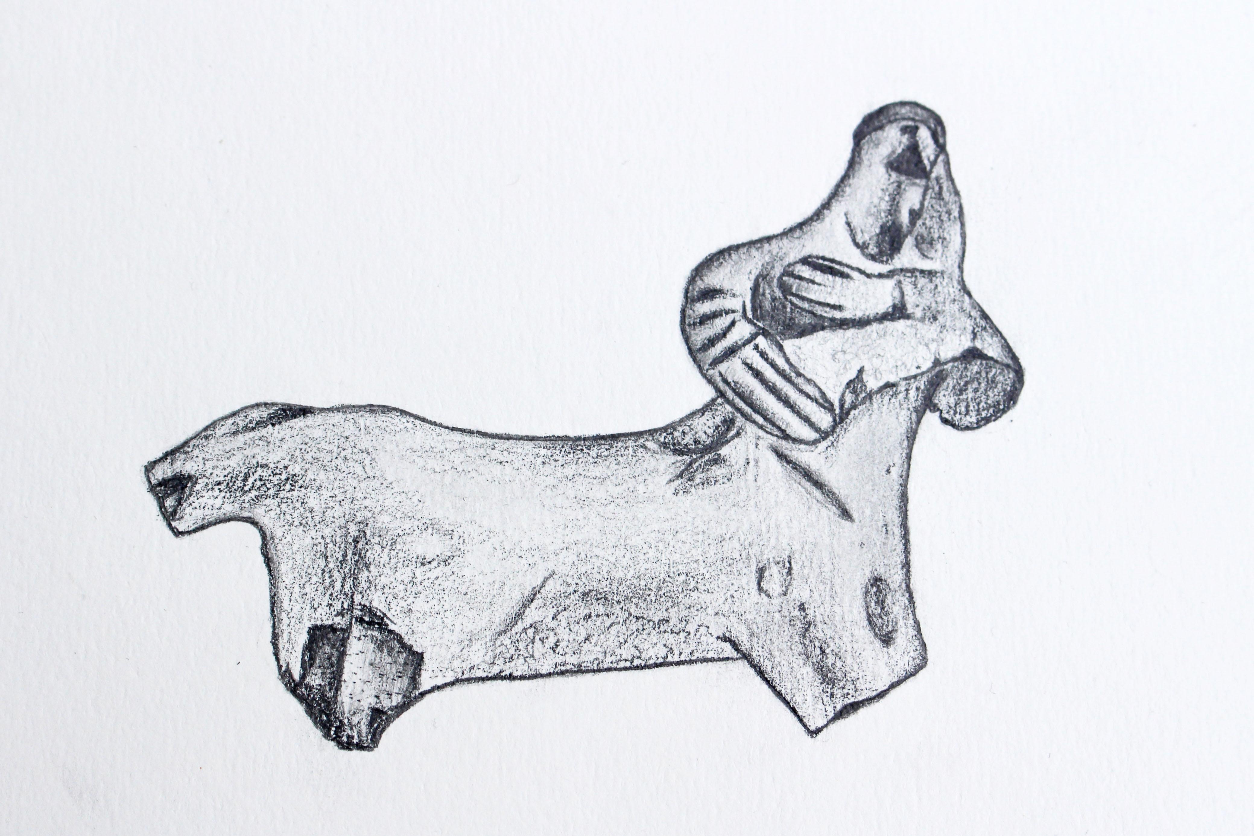 Fragment sošky z Korintu, zobrazující Kentaura Cheiróna s malým Asklépiem v náručí (pozdní 7. – počátek 6. století př. Kr.)