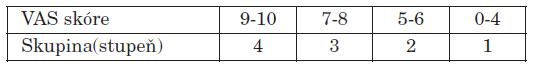 Podle skóre VAS rozdělení pacientů do 4 skupin. Skupina 4 nejlepší výsledky, skupina 1 naopak nejhorší.