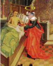 Prof. Marek u lůžka nemocného, jak jej viděl Mistr křížovnického oltáře v roce 1492.