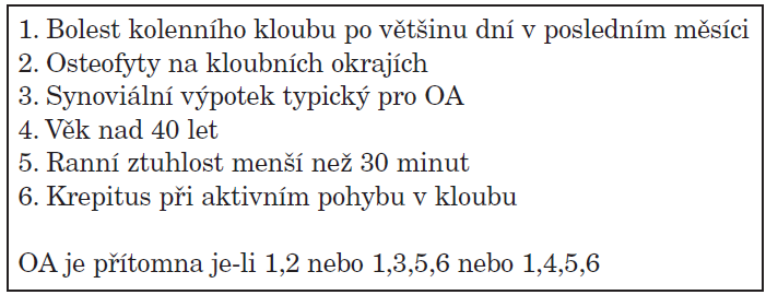 Klasifikační kritéria gonartrózy.