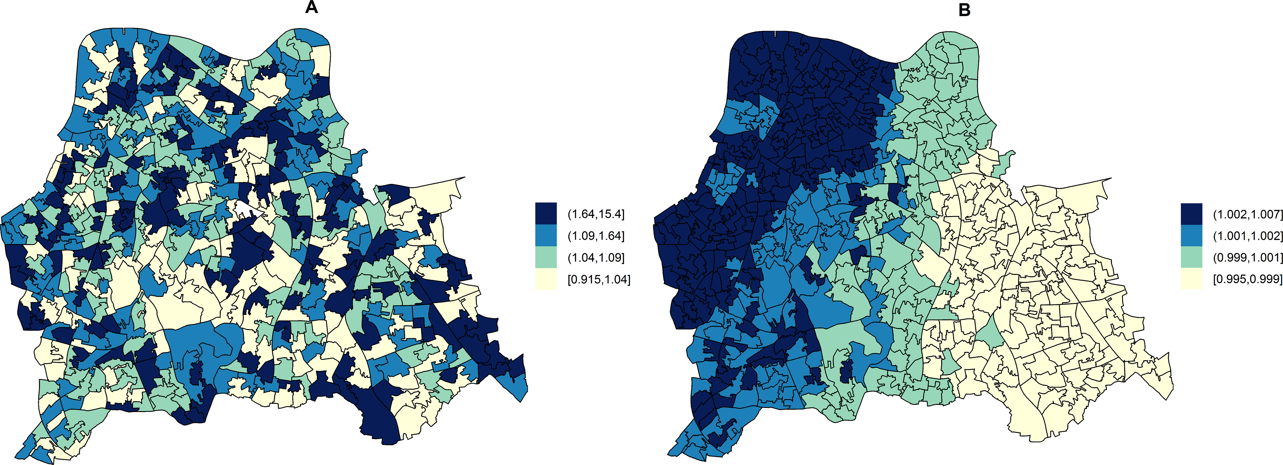 Maps for RR of HA- and CA-MRSA in LSOAs compared to the whole catchment area in disease mapping (unadjusted) models.