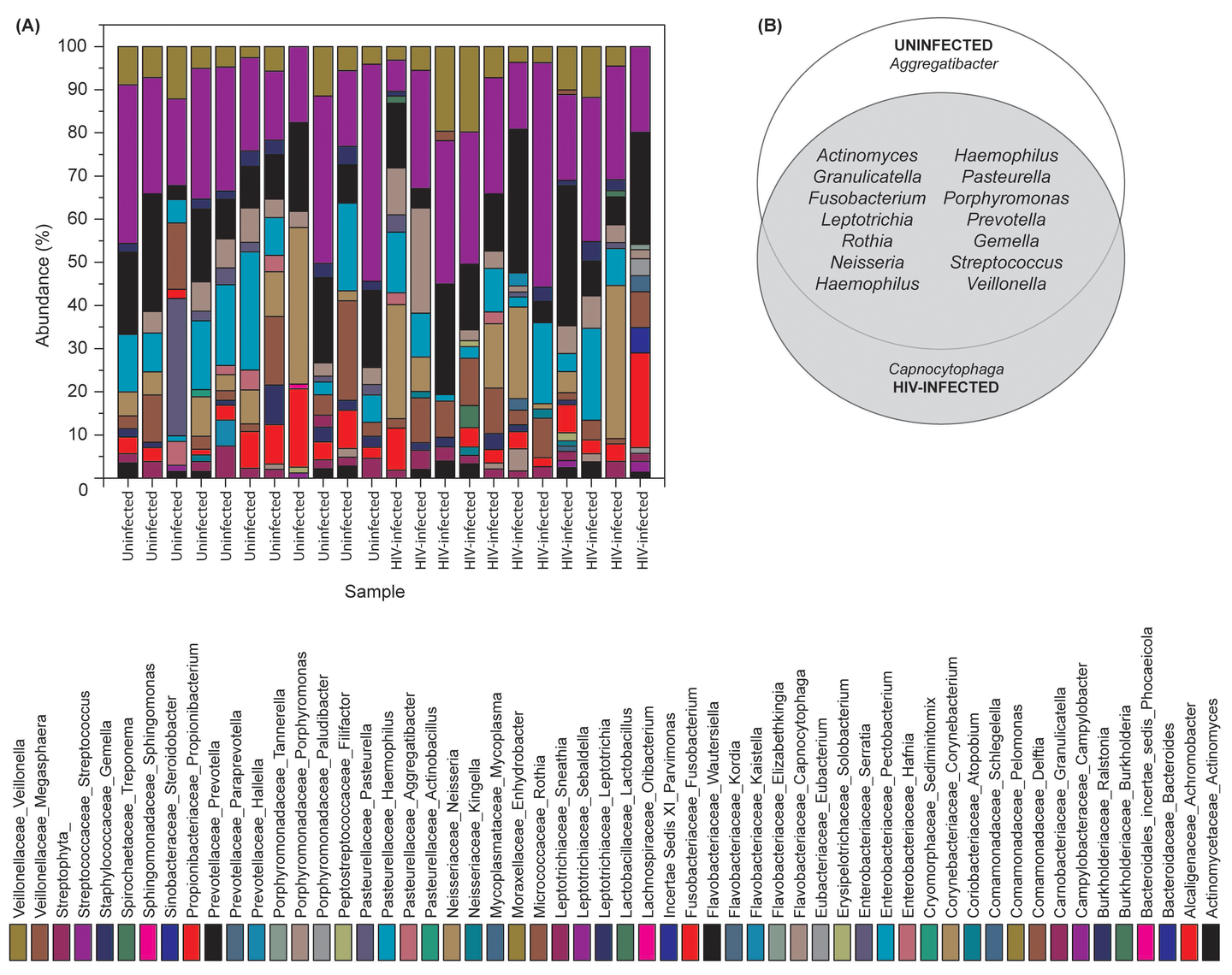 Bacterial microbiome (bacteriome) of HIV-infected patients and uninfected individuals.