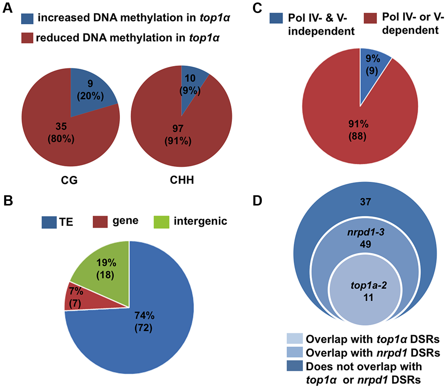 <i>TOP1α</i> does not globally impact DNA methylation but promotes CHH methylation at a small number of loci.