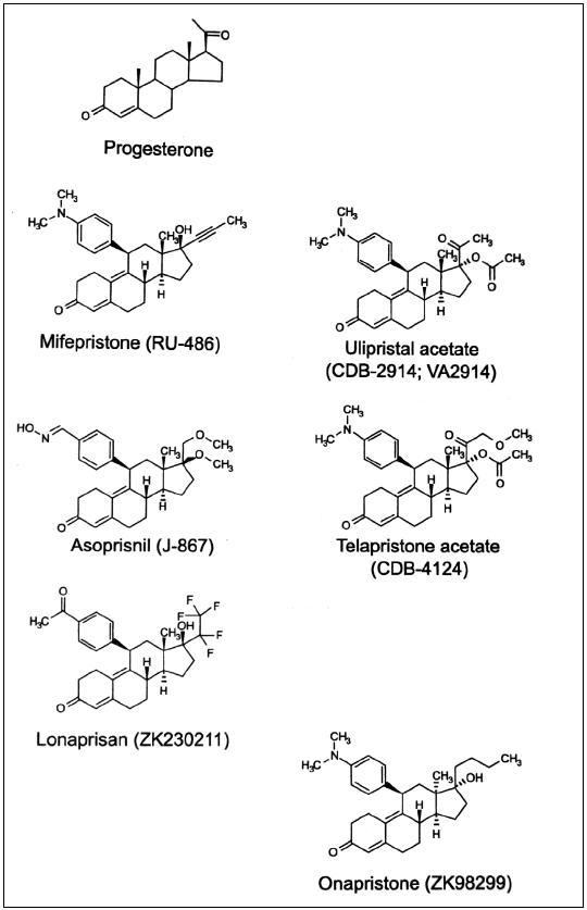 Strukturní vzorce progesteronu a selektivních modulátorů progesteronového receptoru