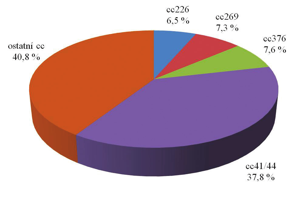 Zastoupení klonálních komplexů u izolátů N. meningitidis B od zdravých nosičů v České republice za období 1971–2014 (květen), n = 262. Fig. 6. Clonal complex distribution of N. meningitidis B from healthy carriers obtained in the Czech Republic in 1971–2014 (May), n = 262