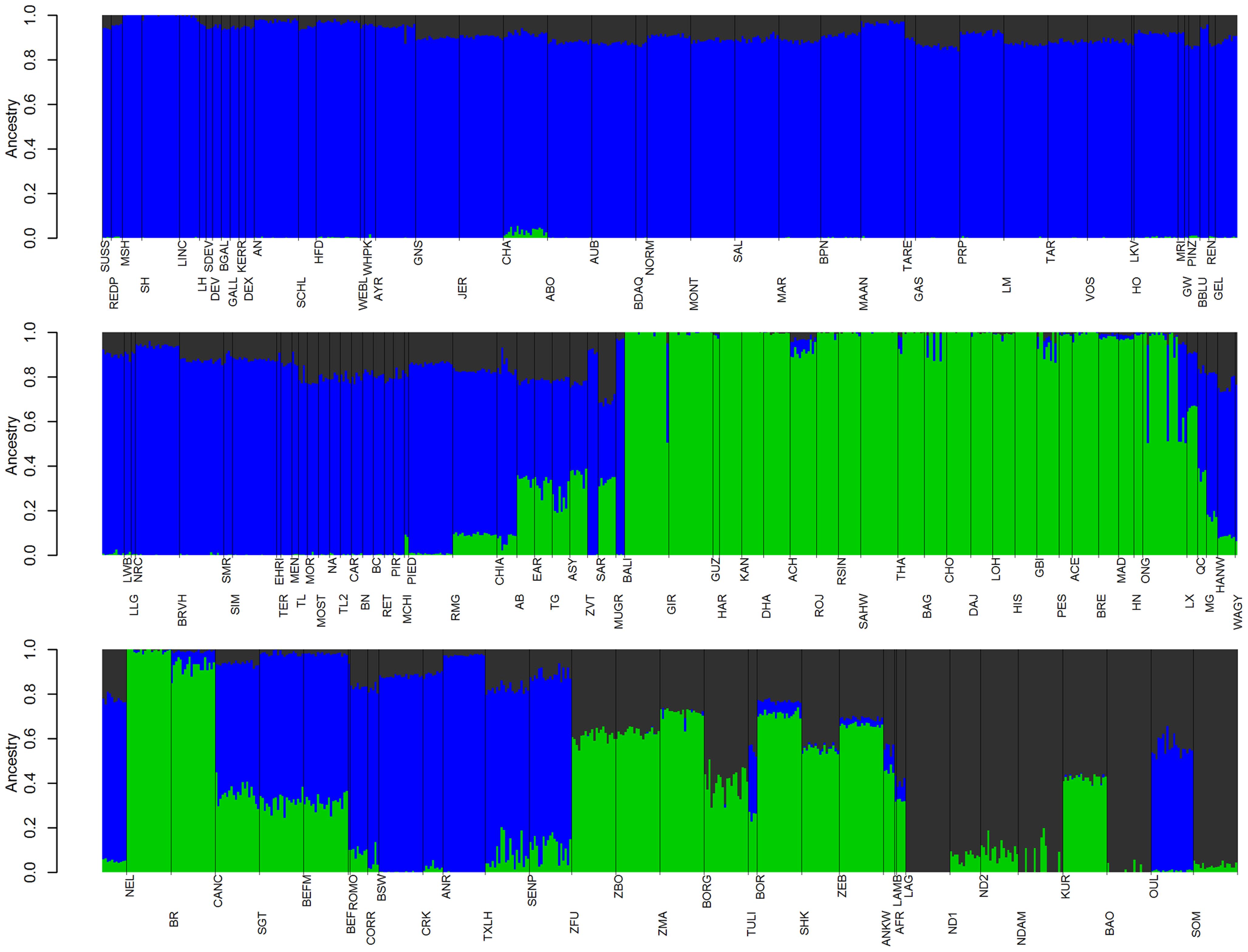 Ancestry models with 3 ancestral populations (<i>K</i>=3).