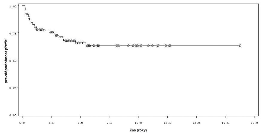 Přežití bez progrese v rámci celého souboru 92 pacientů Fig. 4. Progression free survival in the whole group of 92 patients.