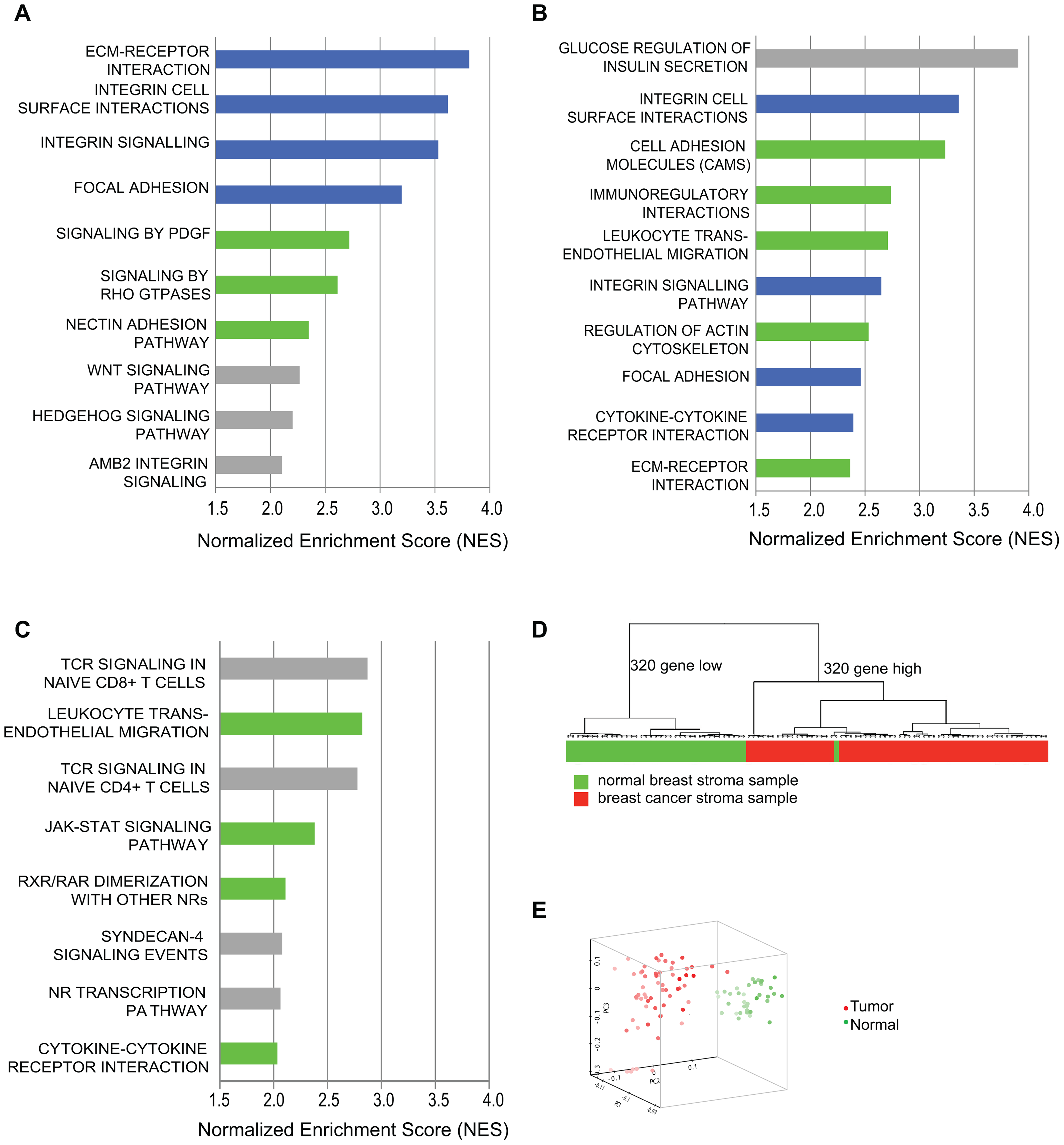 Comparative genomic analysis of expression changes induced by breast cancer cells in tumor-supportive fibroblasts, patient-derived carcinoma-associated fibroblasts, and microdissected breast stroma.