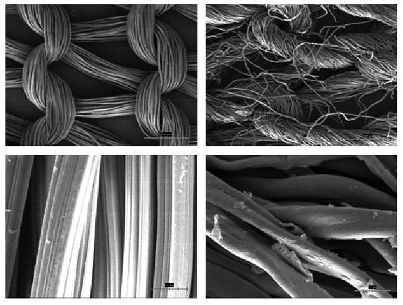 Snímky z elektronového mikroskopu: oxidovaná regenerovaná celulóza připravená oxidací plynným N<sub>2</sub>O<sub>4</sub> v rozpouštědle (Surgicel) (vlevo) a oxidovaná bavlna připravená oxidací v kyselině dusičné a sírové (vpravo). U bavlny oxidované tradičním procesem v kyselinách je patrná degradace povrchových vrstev celulózy.