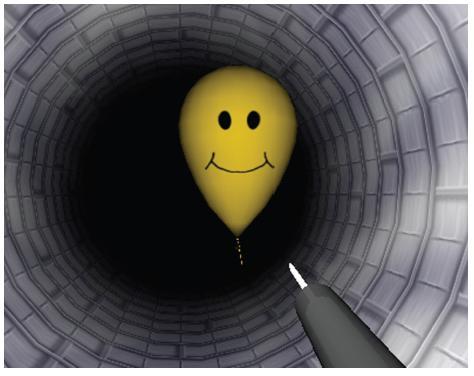 Výcvikový program EndoBubble Na počítačovém displeji se zobrazuje jehla, kterou je možno navigovat tunelem pomocí endoskopu. Úkolem výcviku je dotknout se jehlou a propíchnout balonky, které se v tunelu vznášejí.