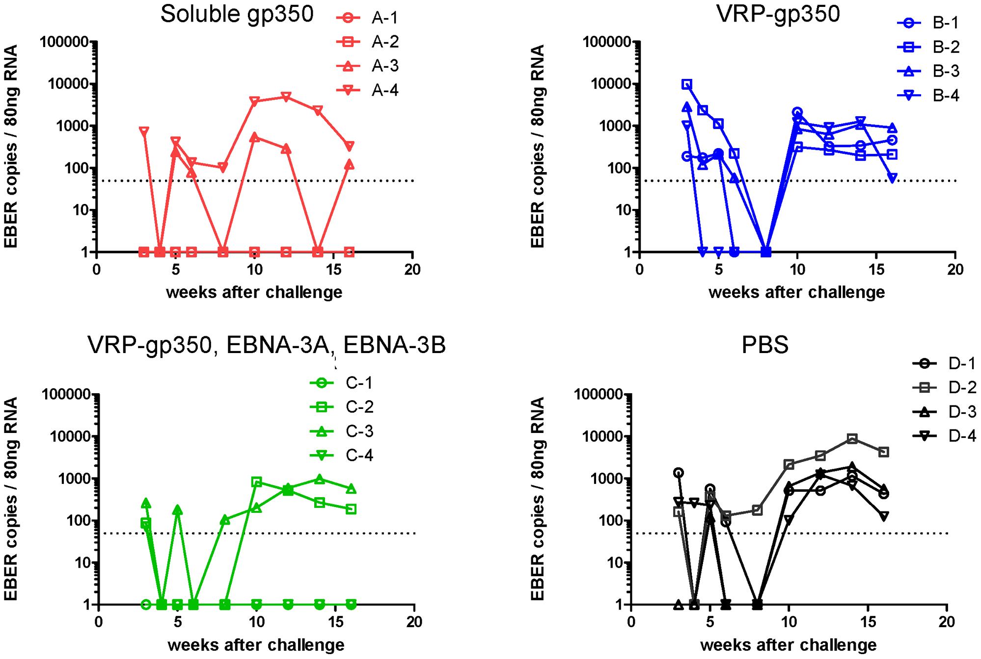 Detection of rhesus LCV EBER1 in the blood of monkeys immunized with soluble gp350, VRP-gp350, a combination of VRP-350, VRP-EBNA-3A, and VRP-EBNA-3B, or PBS.