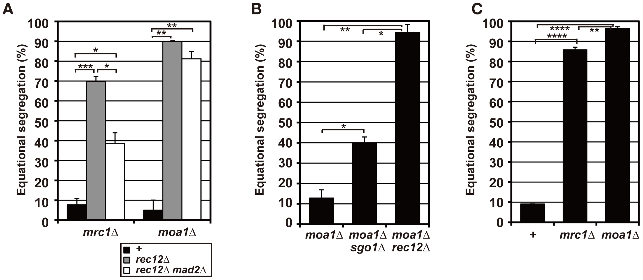 Sister chromatid segregation in <i>mrc1</i> and <i>moa1</i> mutants.