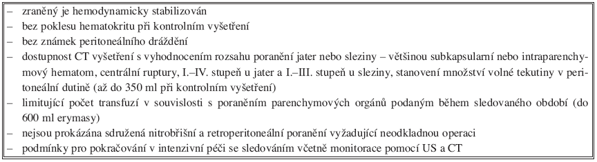 10. Kritéria pro konzervativní léčbu u tupého poranění jater a sleziny Tab. 10. Conservative treatment criteria in blunt, liver and spleen injuries