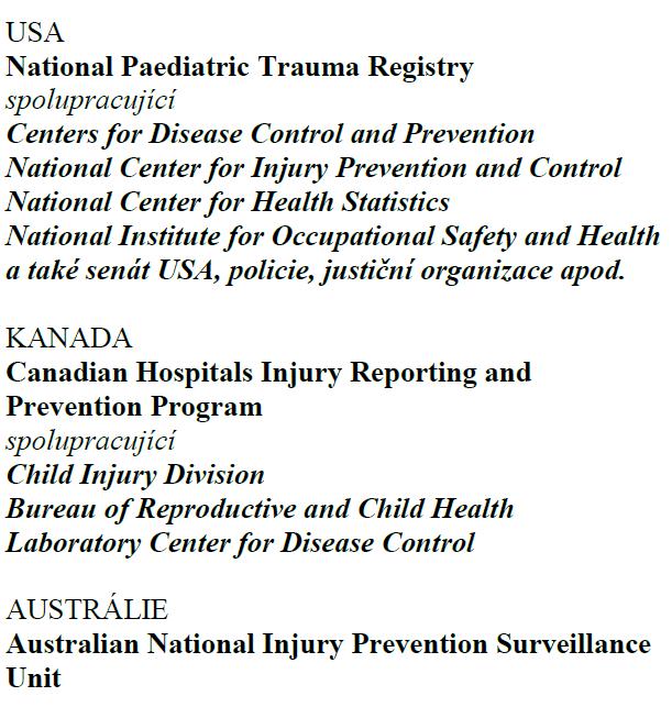 Příklady celostátních registrů a organizací, které spolupracují s centrálními registry