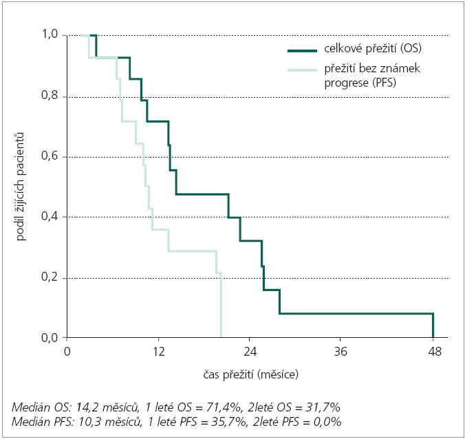 Celkové přežití (OS) a přežití bez známek progrese (PFS) – 16 pacientů.