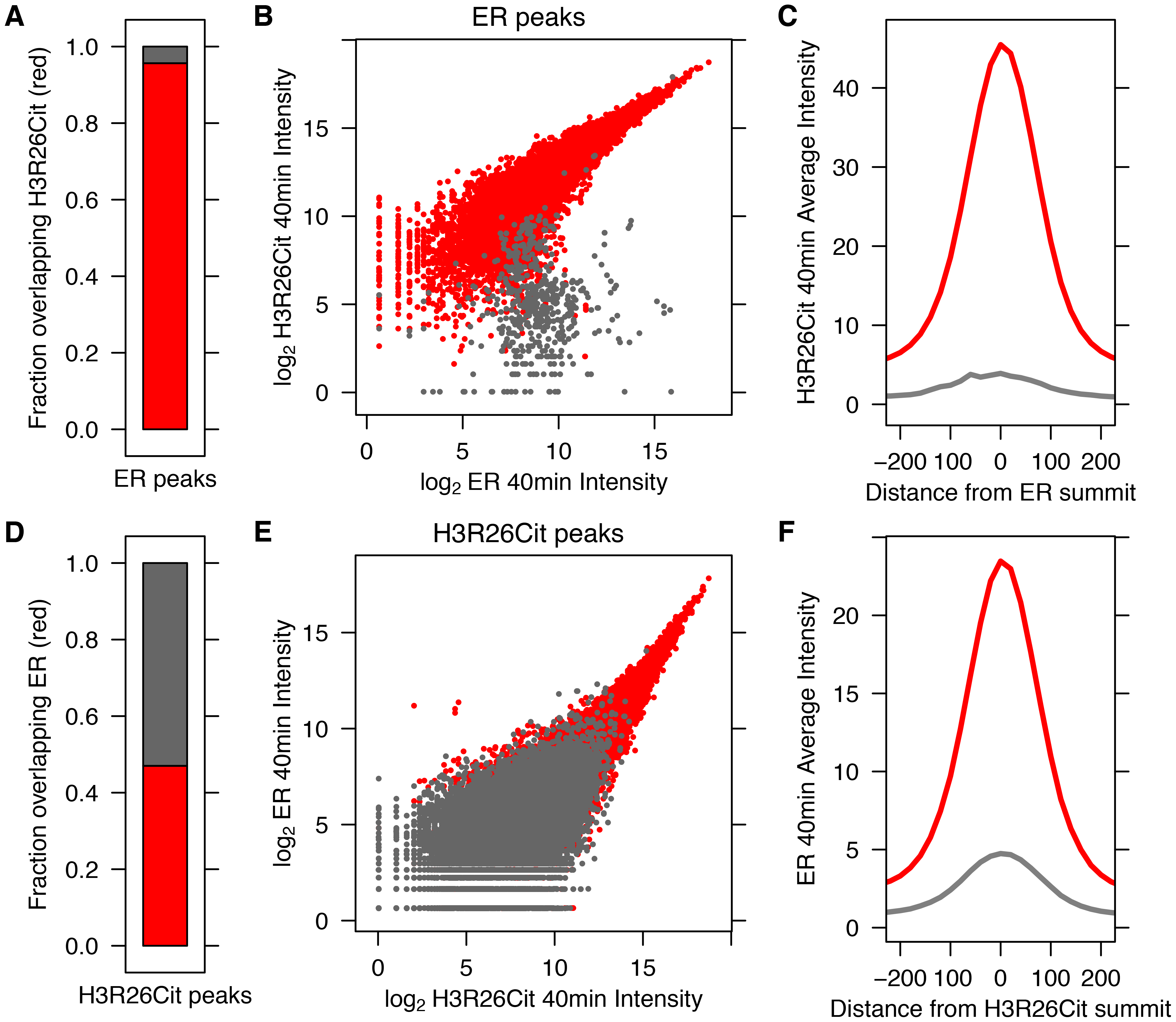 ER Binding and H3R26 citrullination are highly correlated after estrogen treatment.