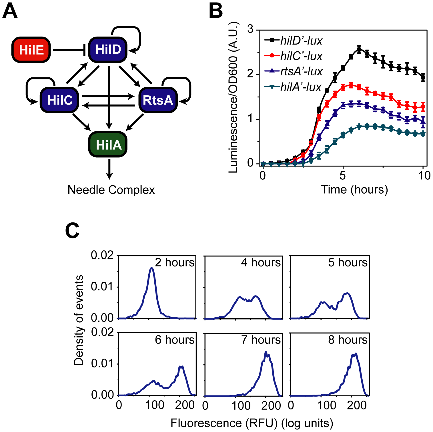 """SPI1 gene expression is hierarchical and exhibits a switch-like transition from the """"off"""" to the """"on"""" state."""