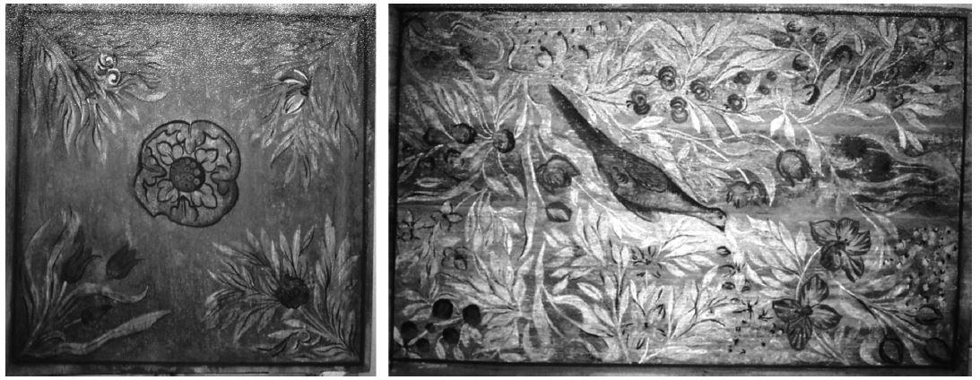 Ukázky čtvercové a obdélníkové kazety z kazetového stropu hradčanské kapucínské lékárn
