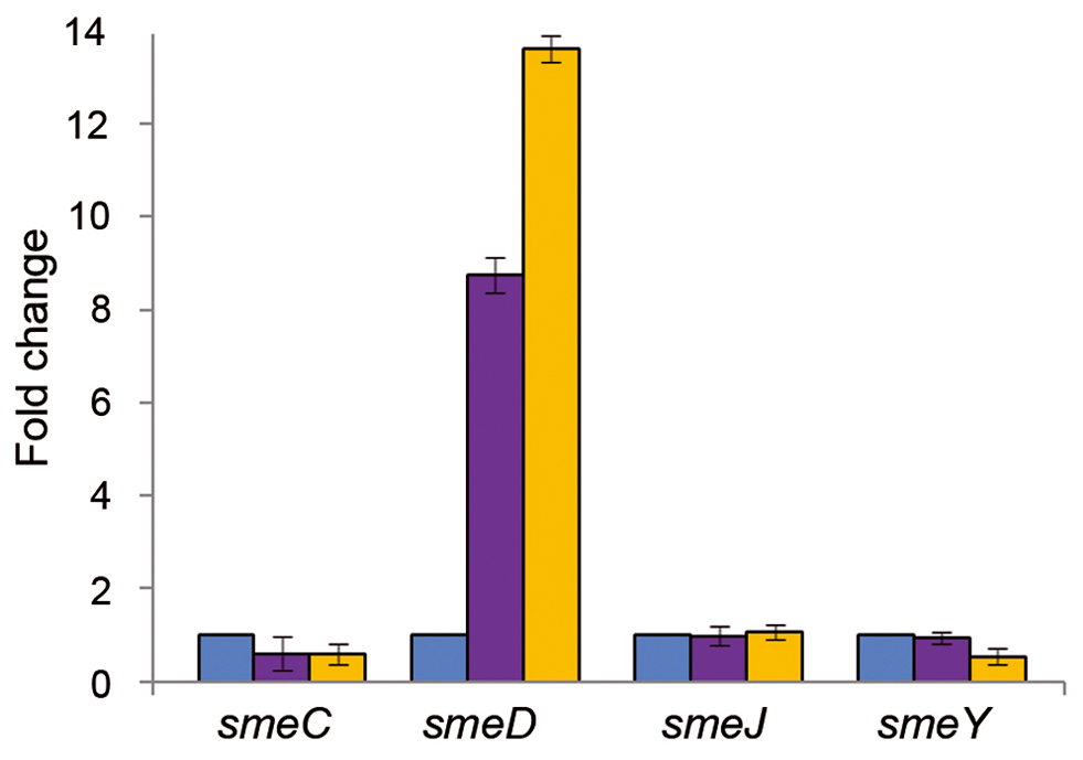 Triclosan increases the mRNA levels of <i>smeD</i>.