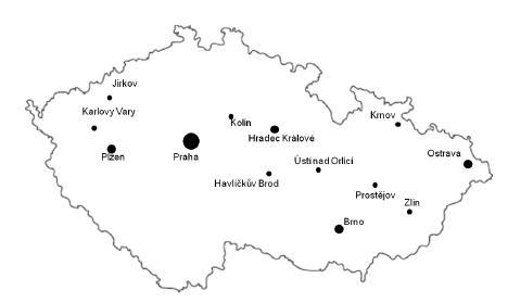 Mapa České republiky – vybrané spolupracující regiony