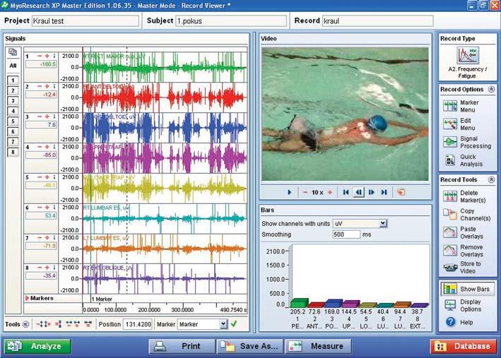 WaS-EMG: záznam plavání.