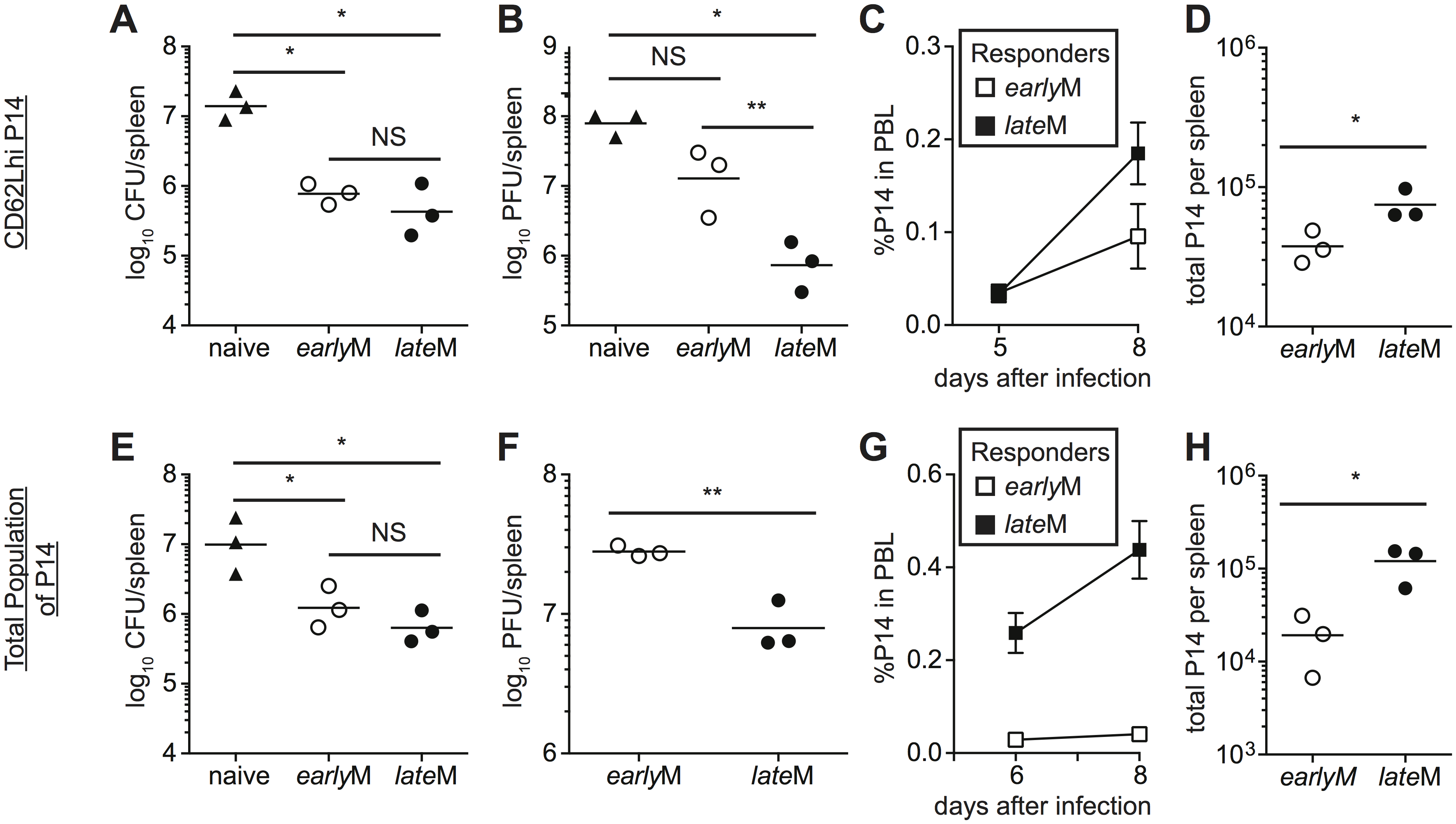 <i>late</i>M cells provide better protection than <i>early</i>M cells following LCMV clone-13 infection.