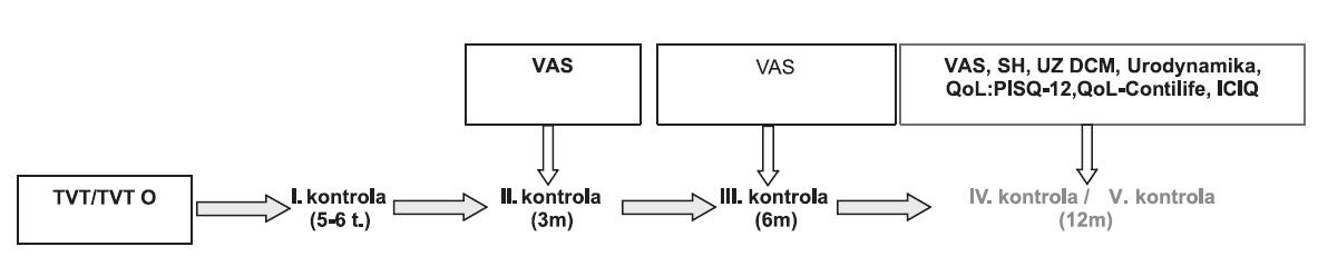 Follow-up v intervalu 5-6 týdnů, 3, 6 a 12 měsíců od provedeného výkonu. 3 měsíce od operace hodnocení pacientem pomocí VAS a vyplnění údajů QoL, 12 měsíců od operace k VAS+QoL přidáno subjektivní hodnocení pacientem (SH).