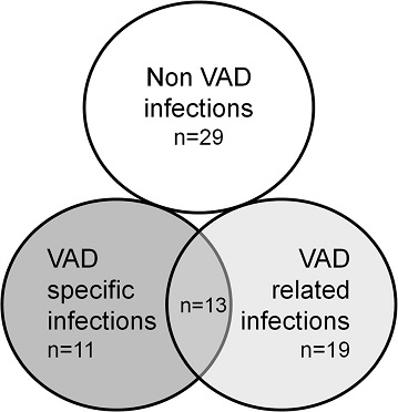 Number of episodes of pre transplant infection in patients with VAD according to the ISHLT classification