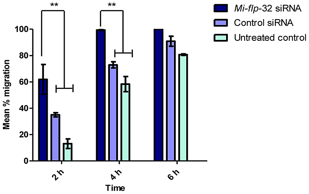 <i>Meloidogyne incognita flp</i>-32 (<i>Mi-flp</i>-32) silenced nematodes exhibit accelerated migration rates.