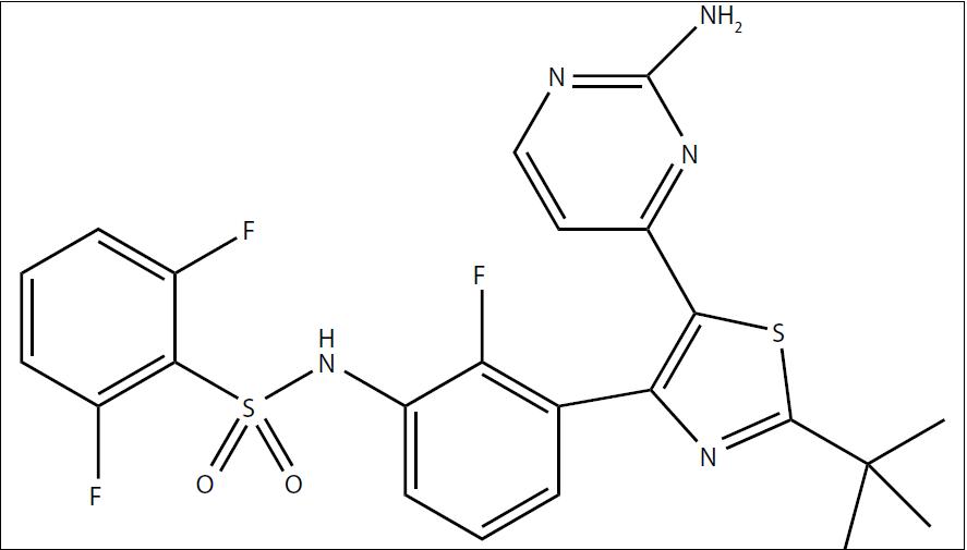 Chemický vzorec dabrafenibu (GSK-2118436).