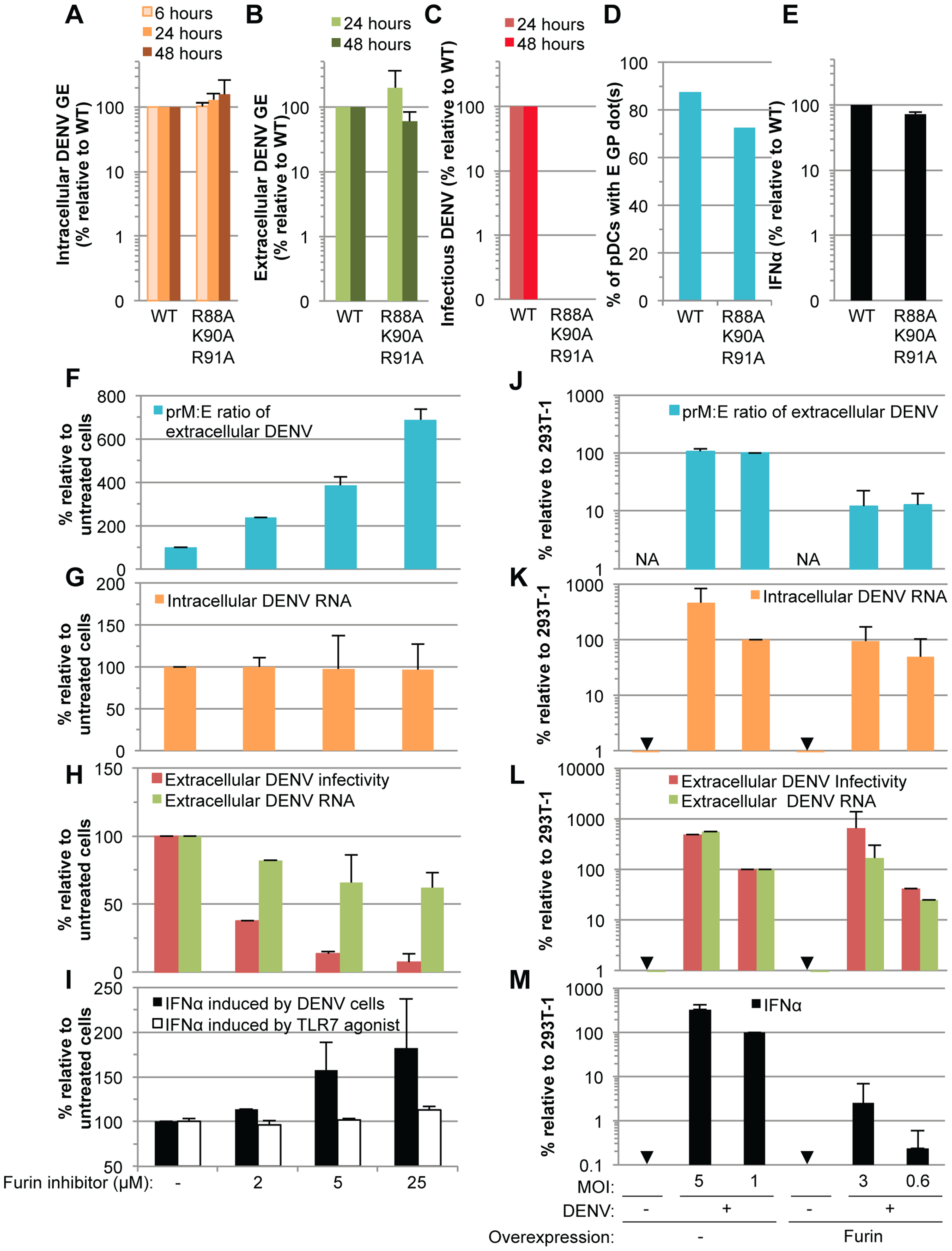 Comparison of pDC IFNα production triggered by mature versus immature DENV particles.