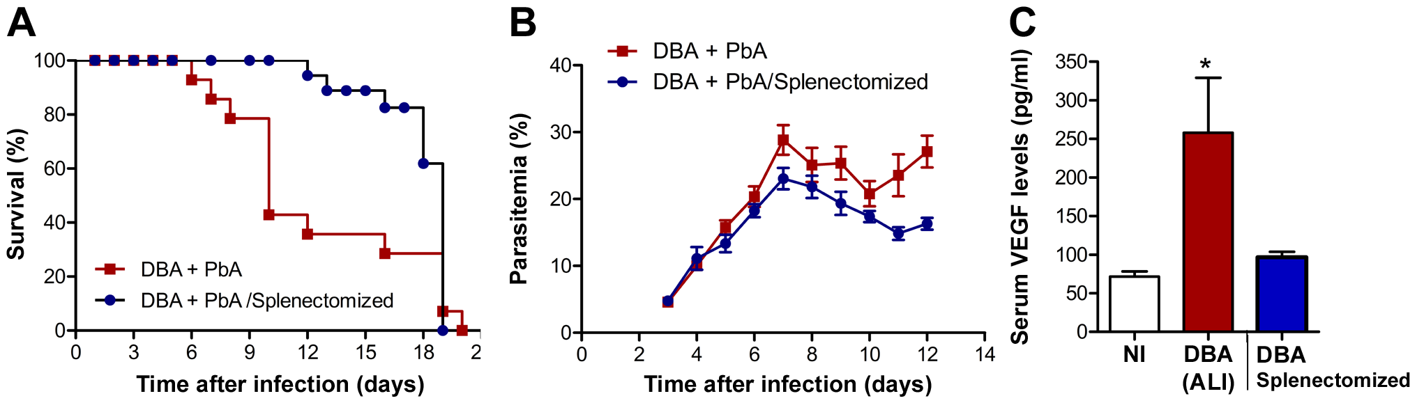 Spleen is required for the onset of malaria-associated ALI.