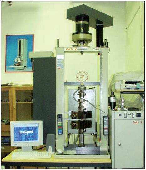 Zkušební stroj ZWICK Z020 typ OK – 6423; snímač síly: 2,5 kN, rychlost tahu: 2 mm/min