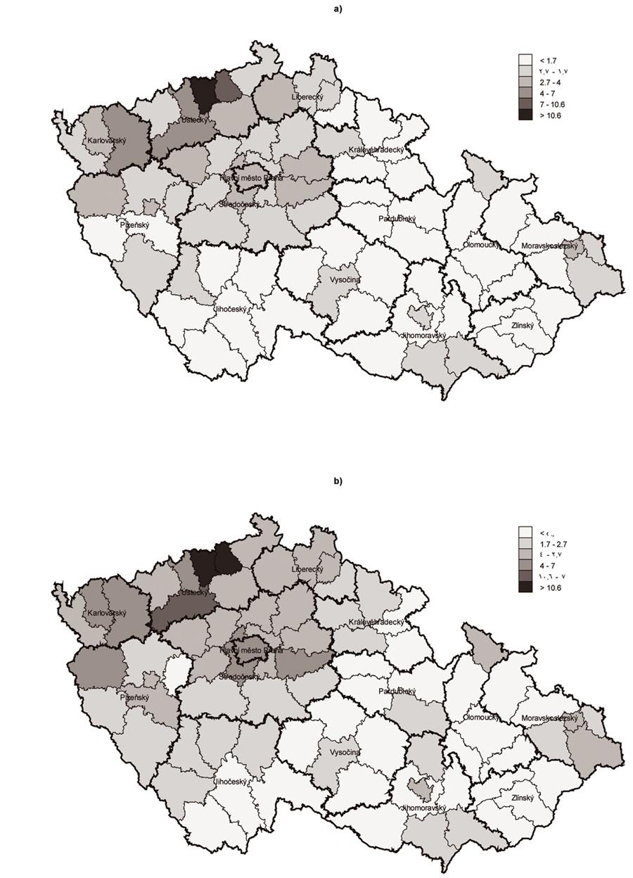 Odhad počtu PUD celkem v ČR v letech 2006 (a) a 2007 (b) podle okresů Fig. 1 Overall PDU estimates in the Czech Republic in 2006 (a) and 2007 (b) by district