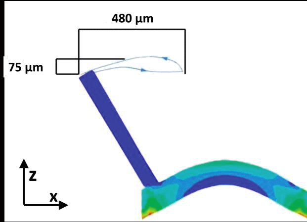 Fig. 6: ANSYS 12 FEM simulation of van Mises stress distribution of a 100 μm thick PDMS membrane deflected by a pressure of 40 kPa.