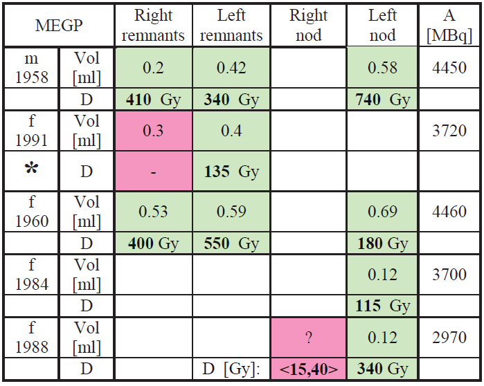 Dosimetry results for the MEGP measurements.