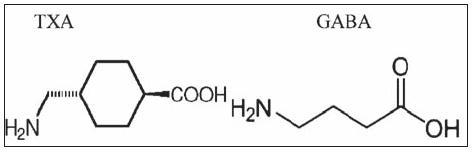 Chemická štruktúra kyseliny tramexámovej (TXA) a gamma- aminomaslovej (GABA)