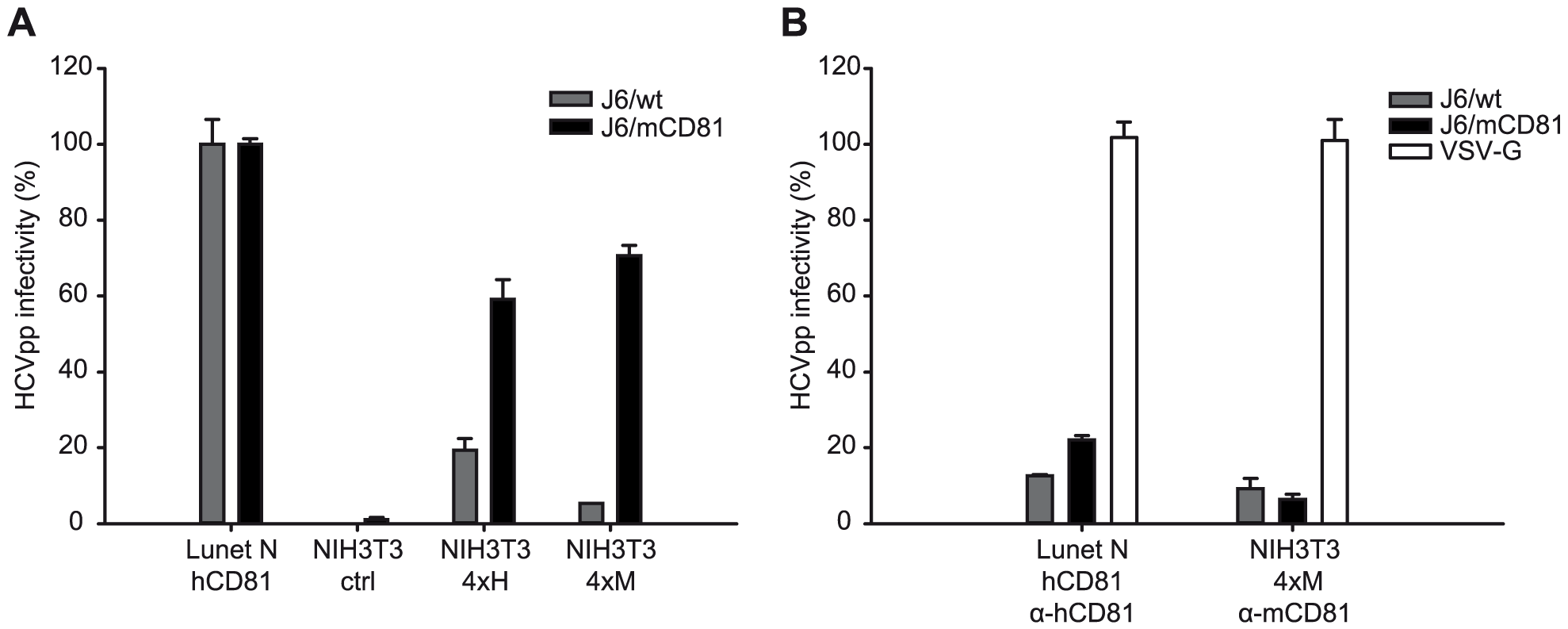 CD81 dependent infection of NIH3T3 cells expressing human or mouse entry factors by HCVpp.